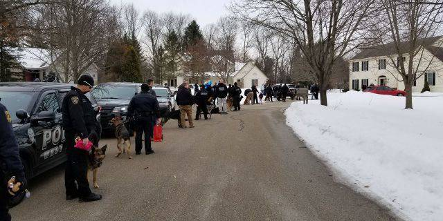 Close to 40 different police departments â including K-9 officers — visited Emma Mertens at her home in Wisconsin on Saturday.